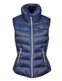 The WeatherBeeta Dion Puffer Vest is a sporty and elegant nylon puffer and soft shell vest in flattering fit