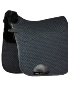 The WeatherBeeta Merino High Wither Dressage Saddle Pad has a soft durable polycotton quilted outer with a high quality breathable Merino lining which helps wick moisture away from the horses back and relieve uneven saddle pressure