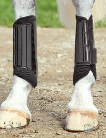 The WeatherBeeta Eventing Hind Boots are so easy to care for with a waterproof outer and strong durable and secure double touch tape closures