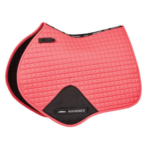 The durable WeatherBeeta Prime Jump Saddle Pad is a cotton pad and has a wick easy lining and breathable mesh spine to help keep your horse cool dry and comfortable